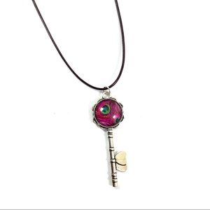 Jewelry - Peacock glass leather cord pendant necklace
